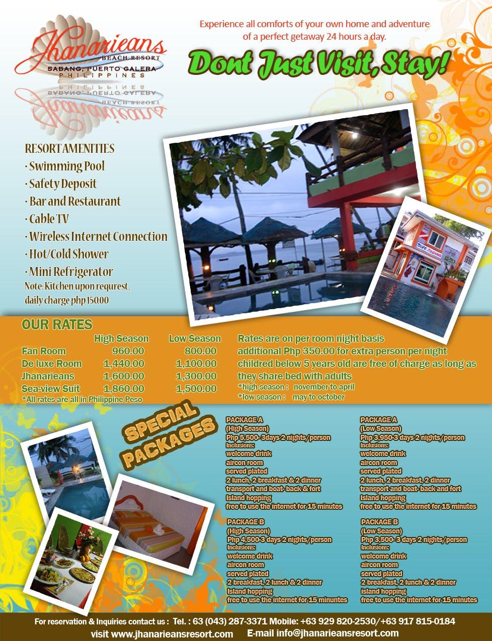 Jhanarieans Beach Resort Print Ads
