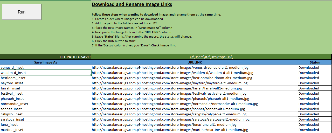 Download and Rename Images Using Excel
